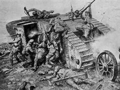 WI  German Soldiers Attacking Stalled Allied Tank During the Battle of the Somme Military Art, Military History, World War One, First World, Ww1 Tanks, Ww1 Art, Ww1 History, Battle Of The Somme, Panzer