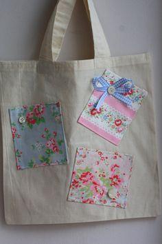 Cute canvas bag (with the fabric scraps applique)