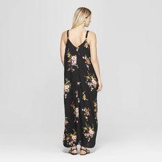 1d69160a119 Women's Floral Print V-Neck Strappy Sack Maxi Dress - Xhilaration Black/ Olivine S