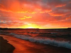 Sunset in the bay, near Glen Arbor, Michigan