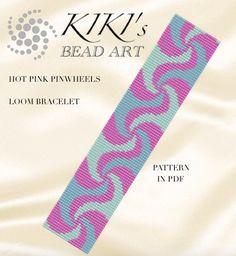 Bead loom pattern Hot pink pinwheels LOOM by KikisBeadArts Loom Bracelet Patterns, Bead Loom Patterns, Loom Bracelets, Beading Patterns, Bead Loom Designs, Beaded Crafts, Loom Bands, Seed Bead Jewelry, Book Making