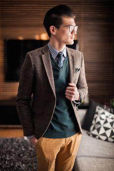 Wool Sweater + Regimental Skinny Tie in Greens and Blues