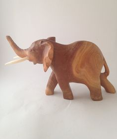 Wood Carved Elephant with Tusks