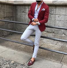 Quality Burgundy Mens Suits with Pants Groom Wedding Tuxedos Groomsmen Blazers Jacket Slim Fit Terno Masculino Costume Homme with free worldwide shipping on AliExpress Mobile Blazer Outfits Men, Mens Fashion Blazer, Suit Fashion, Red Blazer Outfit, Burgundy Blazer, Men Blazer, Fasion, Stylish Men, Men Casual
