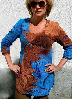 Купить Вязаная крючком туника в стиле фриформ - комбинированный, абстрактный, фриформ, разноцветный, Вязание крючком