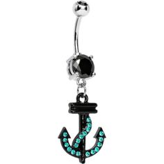 Double Black Gem Black and Aqua Nautical Anchor Dangle Belly Ring | Body Candy Body Jewelry
