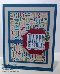 "Love the new Stampin' Up! Birthday Basics DSP.  Makes an easy but big statement on the ""Time for Cake!"" birthday card #JBStampers"