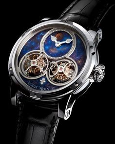 Sideralis by Louis Moinet: an interstellar inverted double tourbillon @louismoinet #louismoinet #tourbillon #horology #limitededition #siderails #doubletourbillon Limited Edition of 28 Pieces The Sideralis timepiece is built around two extraordinary tourbillons both of them oversized with their cages measuring 149 mm. This is the largest assembly of two tourbillons ever created which adds a captivating visual aspect to the watch allowing the watch lovers to admire and contemplate horological…