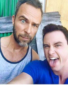JR Bourne and Ryan Kelley on the set of #TeenWolfSeason5B!!!