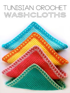 Tunisian #crochet washcloths free pattern from @mypoppetshop