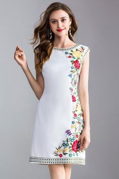 Embroidered Sleeveless Midi Dress Sleeveless Midi Dress Embroidered Hem and Neck Floral Embroidered Details Neckline: Round Pattern: Embroidery Sleeve: Sleeveless Fabric: Cotton Blend Lining: Yes Length: Midi Season: Summer Made in: Imported Embroidered Lace Fabric, Embroidered Clothes, White Embroidered Dress, Embroidery Fashion, Embroidery Dress, Edgy Dress, Mexican Dresses, Fit Flare Dress, Silk Dress