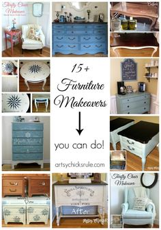 15+ Furniture Makeovers - artsychicksrule.com #thrifty #makeover #chalkpaint #polyshades #diy