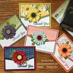 It started with myself wanting to create something with red, white and blue colors. Mission accomplished, but I had to make a few more after I saw how simple and quick it was to create the card! Let's take a look at the my Thank You Cards using the Daisy Delight Bundle!