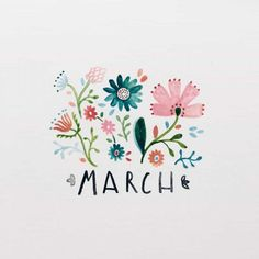 Bullet Journal March Cover Pages You& Want to Steal! > > > Bullet Journal March Cover Pages You'll Want to Steal!Bullet Journal March Cover Pages You'll Want to Steal!Spring is on it's way s Bullet Journal Simple, March Bullet Journal, Bullet Journal Headers, Bullet Journal Inspiration, Bullet Journals, Journal Ideas, Floral Illustration, Hand Lettering Styles, Journal Covers