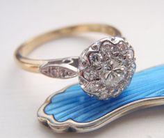 Engagement Ring. Vintage Diamond Cluster by SweetHeirloomVintage
