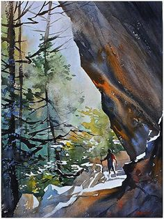 Thomas Schaller - Annie at Ash Cave, Ohio Watercolor Projects, Watercolor Trees, Watercolor Artists, Watercolor Techniques, Oil Painting Abstract, Watercolor Landscape, Abstract Watercolor, Watercolor Illustration, Watercolour Painting