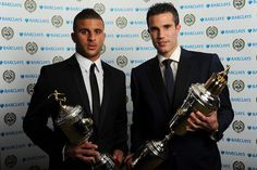 Kyle Walker and Robin van Persie with their PFA awards, via Flickr.