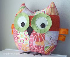 Medium Patchwork Owl Pillow Plush Toy for Baby by angiebabygifts, $29.00