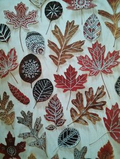 Press fall leaves into a heavy book for about 10 days. Draw on them with metallic paint markers. Finish & seal with Mod Lodge for added strength & shine if desired. - Family Fun Oct 2013, pg. 20