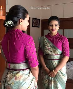 DM for Credits or Removal Makeover Designer Blouse Ideas . DM for Credits or Removal Blouse Designs High Neck, Stylish Blouse Design, Fancy Blouse Designs, Dress Designs, Sleeve Designs, Sari Design, Wedding Saree Blouse Designs, Designer Blouse Patterns, Outfits