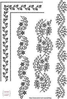 Embroidery Flowers Pattern, Lace Patterns, Hand Embroidery Designs, Beaded Embroidery, Embroidery Stitches, Page Borders Design, Border Design, Doodle Designs, Mehndi Designs