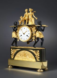 An Empire mantle clock of eight day duration by Pierre-Francois-Gaston Jolly, circa 1800-05.. Patinated and gilt bronze. Signed on the white enamel dial Gaston Jolly a Paris. H. 46cm, W. 32 cm, D. 12 cm