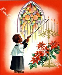 Retro African American Christmas Vintage Card 1950s