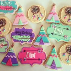 Girly TeePee Birthday - Hayley Cakes and Cookies Cookies Decorados, Galletas Cookies, Iced Cookies, Cute Cookies, Sugar Cookies, Cupcakes, Cupcake Cookies, Happy Birthday Messages, Cookie Time