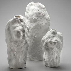 Czech designer Maxim Velčovský has created a series of porcelain vases cast from snow.