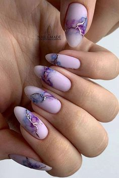Watercolor nail art design is not common, but you must try. Because watercolor nails are beautiful and gorgeous. Today we have collected 32 Watercolor Nail Art Designs, which are carefully selected nail designs. If you have your favorite nail designs Almond Nails Designs, Marble Nail Designs, Marble Nail Art, Acrylic Nail Designs, How To Marble Nails, White Acrylic Nails, Stiletto Nail Art, Blue Nail, Nail Nail