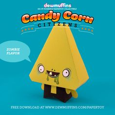 Zombie Flavor  Dewmuffins Candy Corn Citizens paper toy available for download at www.dewmuffins.com/papertoy. #dewmuffins #candycorn #papertoy #halloween #papercraft
