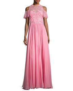 TRMXR Zuhair Murad Cold-Shoulder Georgette Gown with Embroidered Bodice, Pink
