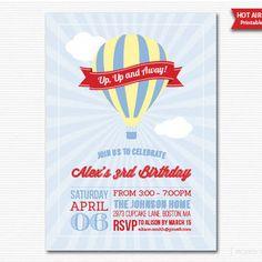 Printable Hot Air Balloon Party Birthday Invitation Digital PDF
