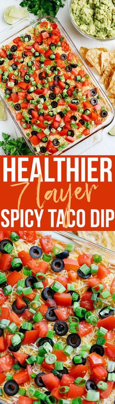 Healthy Eating : – Image : – Description This Healthier 7 Layer Spicy Taco Dip is a lighter take on your favorite party appetizer perfect for any gathering or event that you can enjoy guilt-free! Healthy Appetizers, Appetizer Dips, Appetizer Recipes, Healthy Snacks, Healthy Eating, Party Appetizers, Mexican Food Recipes, Vegetarian Recipes, Cooking Recipes