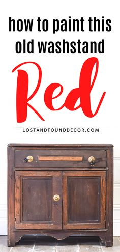 I think old washstands are my absolute favorite pieces to paint. I decided to give this piece a bold pop of color, so I chose MMS Tricycle Red Milk Paint. Follow along to get all my tips for working with red milk paint. #redpaintedfurniture #milkpaint Red Painted Furniture, Milk Paint Furniture, Repainting Furniture, Repurposed Furniture, Furniture Projects, Buy Milk, Antique Chest, Miss Mustard Seeds, Inner Circle