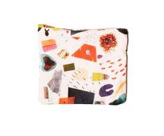 Mini Abstract Art Collage Zipper Clutch
