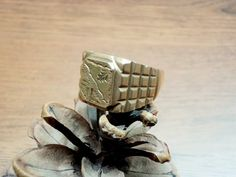 Vintage Brass Ring for Him Solid Copper-zinc by GuestFromThePast