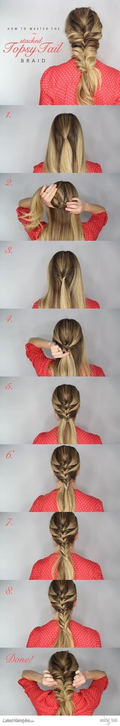 Tie a pony at the center using only the middle hair. Turn the pony inside out. Now from both sides, pull in a strand, and fold it around the tied up hair. Then, repeat the two steps as you go down. Keep repeating until the entire hair is braided.