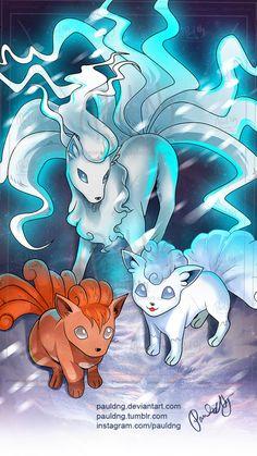 Pokemon - Alola Ninetales, Alola Vulpix by pauldng