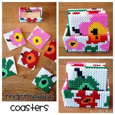 Marimekko inspired coaster set hama/nabbi beads by astridbosse