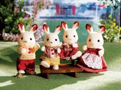 The Calico Critter Hopscotch Rabbit Family enjoys a very active lifestyle. Calico Critter Hopscotch Rabbit Family from International Playthings. Kids Store, Toy Store, Red Balloon, Balloons, Calico Critters Families, Critters 3, Dolls House Figures, Doll Houses, Hopscotch