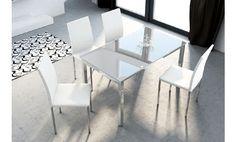 Mesa de cristal blanco y patas cromadas extensible 140x80x75