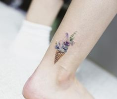 What does ice cream tattoo mean? We have ice cream tattoo ideas, designs, symbolism and we explain the meaning behind the tattoo. Toe Tattoos, Mini Tattoos, Ankle Tattoos, Trendy Tattoos, Finger Tattoos, Unique Tattoos, Beautiful Tattoos, Body Art Tattoos, Ice Cream Tattoo