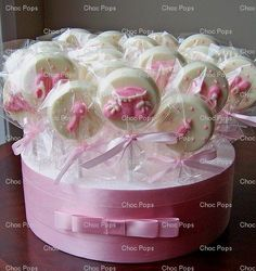 KATHY: chocolate lollipops baby shower favours: