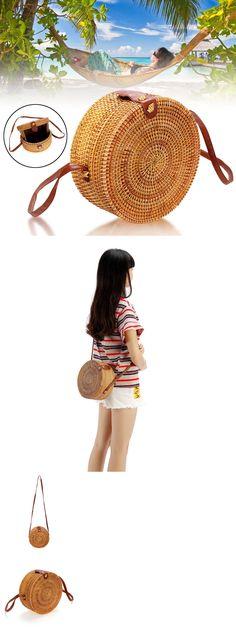 e73e28a540 Bags Handbags and Cases 74962  Circle Handwoven Bali Round Retro Woven  Rattan Straw Beach Bag