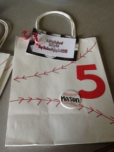 Goody bag for baseball team