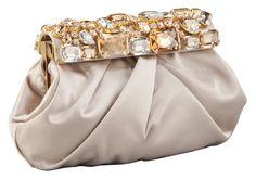 Raso Stones Satin Frame Clutch by Prada at Neiman Marcus. Prada Clutch, Clutch Wallet, Clutch Bags, Fashion Handbags, Purses And Handbags, Embroidery Bags, Bling, Beaded Bags, Vintage Purses