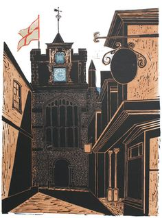 Robert Tavener 1920 - 2004, St Mary's Church, Rye, Linocut, 13/20. For sale by Emma Mason British Prints