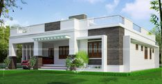 Home Design Drawing House Designs Floor Plans Kerala - Patterns of a real-estate property could be transformed into interactive floor plans or 3 Flat Roof House Designs, House Roof Design, Latest House Designs, Simple House Design, Modern House Design, Independent House, Front Elevation Designs, House Elevation, Single Floor House Design