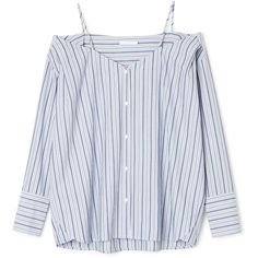 Marissa Shirt ❤ liked on Polyvore featuring tops, button front shirt, curved hem shirt, off-the-shoulder tops, shirt top and off shoulder shirt